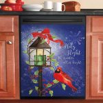 Christmas Glow With Cardinal Dishwasher Cover Sticker Kitchen Decor