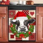 Cow Wreath Christmas Dishwasher Cover Sticker Kitchen Decor