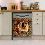 English Bulldog Golden Sculpture Pattern Dishwasher Cover Sticker Kitchen Decor