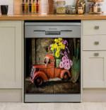 Vintage Truck Flowers Dishwasher Cover Sticker Kitchen Decor