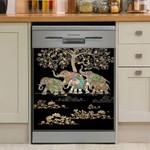 Elephant Family Dishwasher Cover Sticker Kitchen Decor