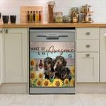 Dachshunds Sunflower Wake Up And Be Awesome Dishwasher Cover Sticker Kitchen Decor