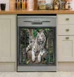 Tiger Window Forest Dishwasher Cover Sticker Kitchen Decor