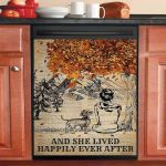 Fall Tree Dictionary Dachshund And She Lived Happily Dishwasher Cover Sticker Kitchen Decor