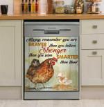 Farmer Rooster Remember You Braver Dishwasher Cover Sticker Kitchen Decor