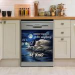 Wolf Be Kind Moon Pattern Dishwasher Cover Sticker Kitchen Decor