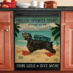 Vintage Diving Club English Springer Spaniel Dishwasher Cover Sticker Kitchen Decor