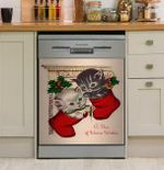 Christmas Vintage Cards Kitten Dishwasher Cover Sticker Kitchen Decor