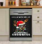 Chillin With My Cat Snowmies Christmas Dishwasher Cover Sticker Kitchen Decor