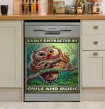Easily Distracted By Owls And Music Dishwasher Cover Sticker Kitchen Decor