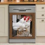 White Rooster Chicken Through Window Dishwasher Cover Sticker Kitchen Decor