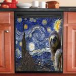 Sloth Starry Night Dishwasher Cover Sticker Kitchen Decor