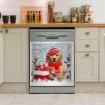 Goldendoodle Snow Christmas Pattern Dishwasher Cover Sticker Kitchen Decor