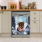Yorkshire Puppy In Snow Pattern Dishwasher Cover Sticker Kitchen Decor