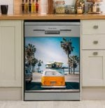 Surfing Summer Dishwasher Cover Sticker Kitchen Decor