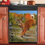Young Buck Deer Jumping Dishwasher Cover Sticker Kitchen Decor