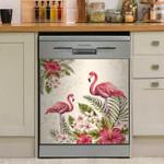 Tropical Flamingo And Plumeria Hibiscus Dishwasher Cover Sticker Kitchen Decor