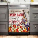 Stay Positive Work Hard Make It Happen Donkey Dishwasher Cover Sticker Kitchen Decor