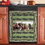 Horses In Forest Dishwasher Cover Sticker Kitchen Decor