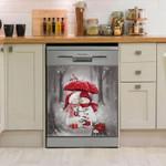 Snow Couple Christmas Pattern Dishwasher Cover Sticker Kitchen Decor