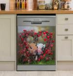 Sweet Pig Valentine Heart Dishwasher Cover Sticker Kitchen Decor