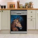 Stately Smoky Brown Horse Black Dishwasher Cover Sticker Kitchen Decor