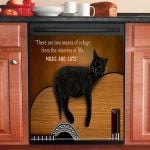 Two Means Of Refuge Black Cat Dishwasher Cover Sticker Kitchen Decor