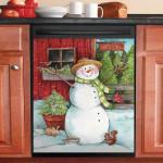 Snowman Tree Farm Life Dishwasher Cover Sticker Kitchen Decor