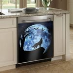 Wolf Howling At The Moon Dishwasher Cover Sticker Kitchen Decor