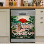The Waves Are Calling And I Must Go Flamingo Surfing Dishwasher Cover Sticker Kitchen Decor