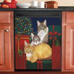 Three Cat And Merry Christmas Dishwasher Cover Sticker Kitchen Decor