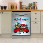 Welcome Dog Car Xmas Dishwasher Cover Sticker Kitchen Decor