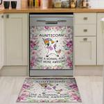 Unicorn Flower Frame Pattern Dishwasher Cover Sticker Kitchen Decor