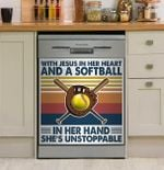 Softball With Jesus In Her Heart Dishwasher Cover Sticker Kitchen Decor