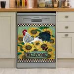 Welcome Sunflower Field And Chicken Dishwasher Cover Sticker Kitchen Decor