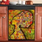 Traditional African Woman Dishwasher Cover Sticker Kitchen Decor