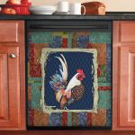 Gorgeous Damask Rooster Dishwasher Cover Sticker Kitchen Decor