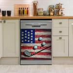 Wooden American Flag Golf Vintage Dishwasher Cover Sticker Kitchen Decor