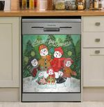 Happen Snowmen Family Dishwasher Cover Sticker Kitchen Decor