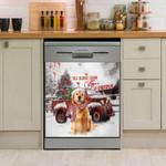 Golden Retriver Snow Day Pattern Dishwasher Cover Sticker Kitchen Decor