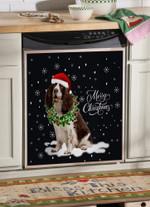Welsh Springer Spaniel Wreath Necklace Christmas Dishwasher Cover Sticker Kitchen Decor