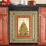 Simple Tree Christmas Pattern Dishwasher Cover Sticker Kitchen Decoration