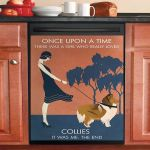 Vintage Girl Once Upon A Time Collie Dishwasher Cover Sticker Kitchen Decor