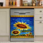 Sunflower Welcome Dishwasher Cover Sticker Kitchen Decor