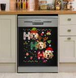 Ho Ho Ho Golden Retriever Dishwasher Cover Sticker Kitchen Decor