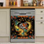Hummingbird Skull Flower Dishwasher Cover Sticker Kitchen Decor