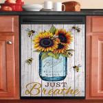 Just Breathe Jar Bee Sunflower Dishwasher Cover Sticker Kitchen Decor