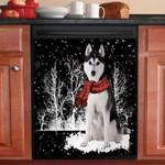 Siberian Husky Snowy Night Pattern Dishwasher Cover Sticker Kitchen Decor