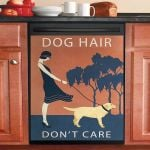 Vintage Hair Dont Care Labrador Retriever Dishwasher Cover Sticker Kitchen Decor