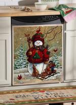 Snowman Christmas Snowman Pattern Dishwasher Cover Sticker Kitchen Decor
